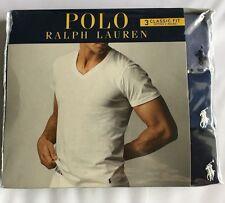 Polo Ralph Lauren Classic Fit V-Neck T-Shirts 3 Pcs Basic Tee Undershirt BLUE