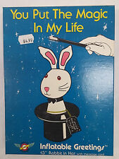 """Vtg. Inflatable Greetings 13"""" Rabbit in Hat W/ Message Card You Put The Magic I1"""
