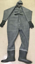 Hand-made thick unlined black rubber full body waders / suit w hood & glove EU45
