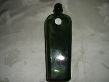 "ANTIQUE GREEN BLOB TOPPED GIN BOTTLE 9.5"" TALL #2"