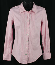 Tommy Hilfiger Stretch Size XS Pink Striped Polka Dot Shirt Womens Ladies Top