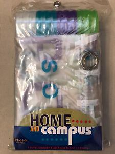 NIP Campus Home Bathroom Vinyl Shower Curtain Set Of 12 Rings Purple Green Blue