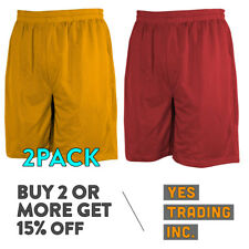 2 PACK MENS CASUAL BASKETBALL SHORTS PLAIN MESH SHORT GYM FITNESS WORKOUT P.E