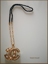 Chain Pendant Yellow Gold Laminated and Glass Black