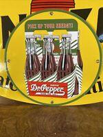 VINTAGE STYLE ''DR. PEPPER'' GAS & OIL PUMP PLATE 12 INCH PORCELAIN SIGN 1940
