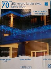 Holiday Time Blue light 70 Count Led Micro Icicle Light Set White Wire  11.44'