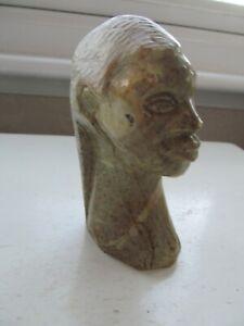 Vintage Carved Soapstone African Ladies Head