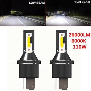 2PCS H4 Hi/Lo LED Headlight Headlamp 26000LM 6000K 110W Kit Conversion Bulbs