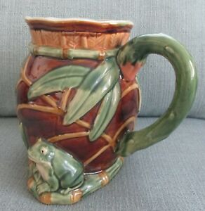 Henricksen Imports Classic Majolica Frog and Lily Pad Water Pitcher