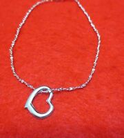 10 1/2 INCH 14KT WHITE GOLD EP 1 MM TWISTED NUGGET ANKLET WITH A FLOATING HEART