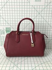 NWT Michael Kors Hayes Large Leather Satchel Bag Mulberry/Ballet Crossbody Purse