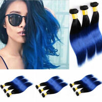 Bundles #1B/Blue Ombre Straight 100% Remy Hair Human Hair Extensions Weft Weave