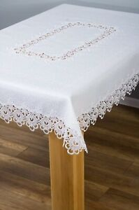 Chic Lace Victorian Style Tablecloth White Various Sizes obrus z gipiurą