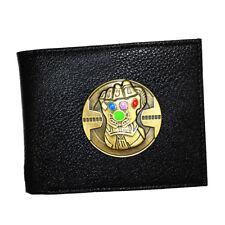 Marvel Avengers Infinity Wars Thanos Black Leather Slim Bifold Wallet Card Gift