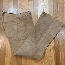 Vtg 60s 70s Rough Suede Leather Pants Hippy Biker Cowboy Rock Star Men's 32 Euc