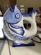 Hand Painted In Portugal Ceramic Fish Pitcher