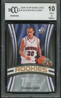2009-10 sp game used 379/399 STEPHEN CURRY rookie BGS BCCG 10