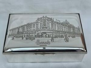 Superb Harrods of London Hallmarked Silver Cigarette Box Dated 1990 With Letter.