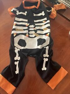"""HALLOWEEN Dog Puppy Black Skeleton Med 13.5"""" Long PreOwned 2 Small 4 My Frenchie"""