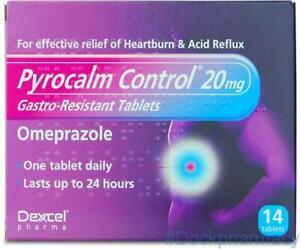 Pyrocalm Control Omeprazole 20mg 14 Tablets Heartburn & Acid Reflux
