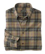 ORVIS Luxury Flannel Long Sleeve Men's Shirt BUTTON DOWN Brown Check MEDIUM $139