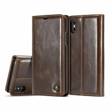 Brown Leather Credit Card Slot Holder Shock Bumper Case Cover for iPhone 10 / X