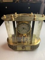 "SCHMID  Vintage Music Box with 8 Day """" German Mantel Clock Brass & Glass"
