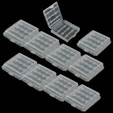 10 x Clear Hard Plastic Battery Case Holder Storage Box Container for AA / AAA