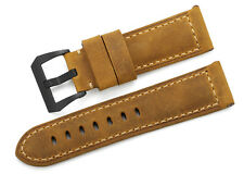 24mm Brown Genuine Asso Leather Wristband Strap Black PVD Buckle For Panerai Men