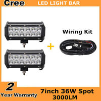 2X 7inch 36W LED Light Bar Spot Offroad Ford 4WD Truck Driving+Wires Boat Fog
