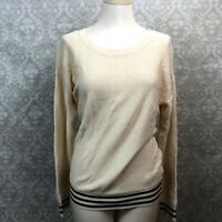 Madewell Small Womens Ivory Black Waffle Knit Crew-neck Sweater