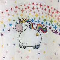 4x Paper party Napkins  for Decoupage  Polly the Unicorn Napkin Art