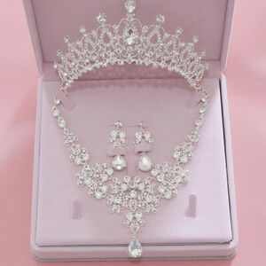 EXQUISITE RHINESTONE  NECKLACE CROWN EARRING BRIDAL WEDDING JEWELRY SET