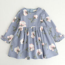 UK Baby Girls Princess Dress Kids Long Sleeve Bowknot Party Dresses Clothes Light Blue 3-4 Years
