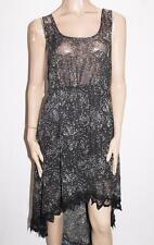 RIVERS Brand Black Printed Chiffon Asymmetrical Hem Dress Size 14-L BNWT #SE02