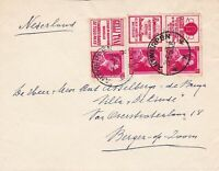 Belgium 1960 Postal Cover with Rare Advertising Labels Multiple Stamps Ref 45462