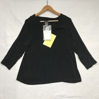 Citiknits Womens Blouse Black Long Sleeve Pullover Stretch Pleats Plus 1X New