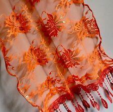 Beautiful Shawl Scarf Cover Wrap Veil Flowers Orange Wedding Gift Lace