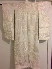Antique Japanese Wedding Kimono Silk White on white