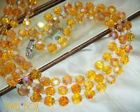 VINTAGE CITRINE AURORA BOREALIS STERLING CLASP MULTI STRAND UV CRYSTAL NECKLACE