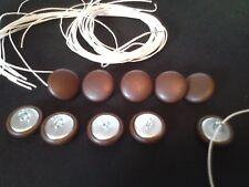 Botones De Tapicería. bucle Cable + longitud de hilo 10 X NO30 Vinilo Marrón Cubierta