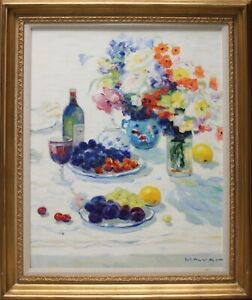 GEORGE MALVA-Syrian Impressionist-Signed Oil-Fruit/Floral Still-Findley Gallery