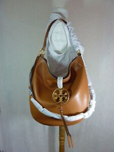 NEW Tory Burch Aged Camello Metal Logo Slouchy Miller Hobo $578