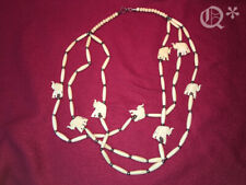 Vintage Native Style Handmade 3 Line Bone Choker Necklace