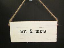 """Mr. & Mrs."" Wedding Hanger by Mud Pie, Distressed Wood, New"