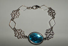 Acrylic Crystal Silver Plated Bracelet Lacy Filigree Victorian Style Turquoise