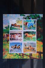 Pferde 19 horses chevaux Tiere animals Fauna sheet Block geschnitten ** MNH