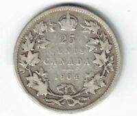 CANADA 1904 25 CENTS QUARTER KING EDWARD VII CANADIAN STERLING SILVER COIN