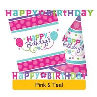 PINK & TEAL Birthday Party Range - Tableware Balloons Banners & Decorations