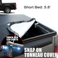Fits 19+ Dodge Ram 1500 5.7 Ft Short Bed Hidden Snap-On Tonneau Cover+LED Light